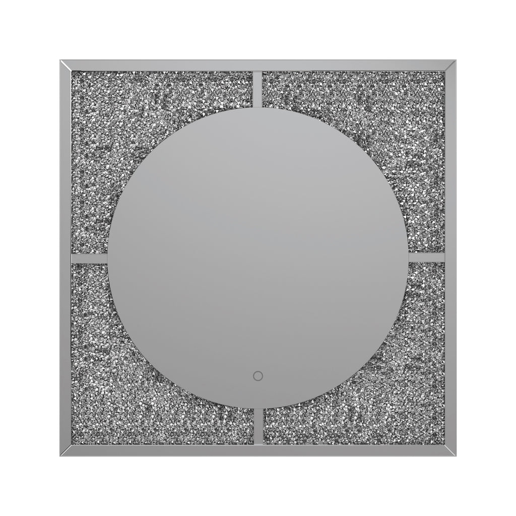 Contemporary Square Wall Mirror with LED Lights