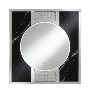 Black Marble Wall Mirror with LED Lights