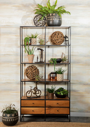 Rustic Display Shelf in Natural Wood Finish