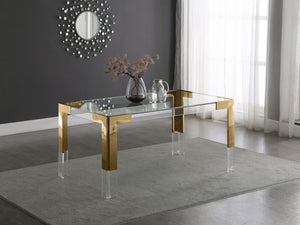 Cassidy Acrylic Dining Table in Chrome or Gold