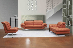Ester Leather Living Room Collection in Pumpkin or Chocolate