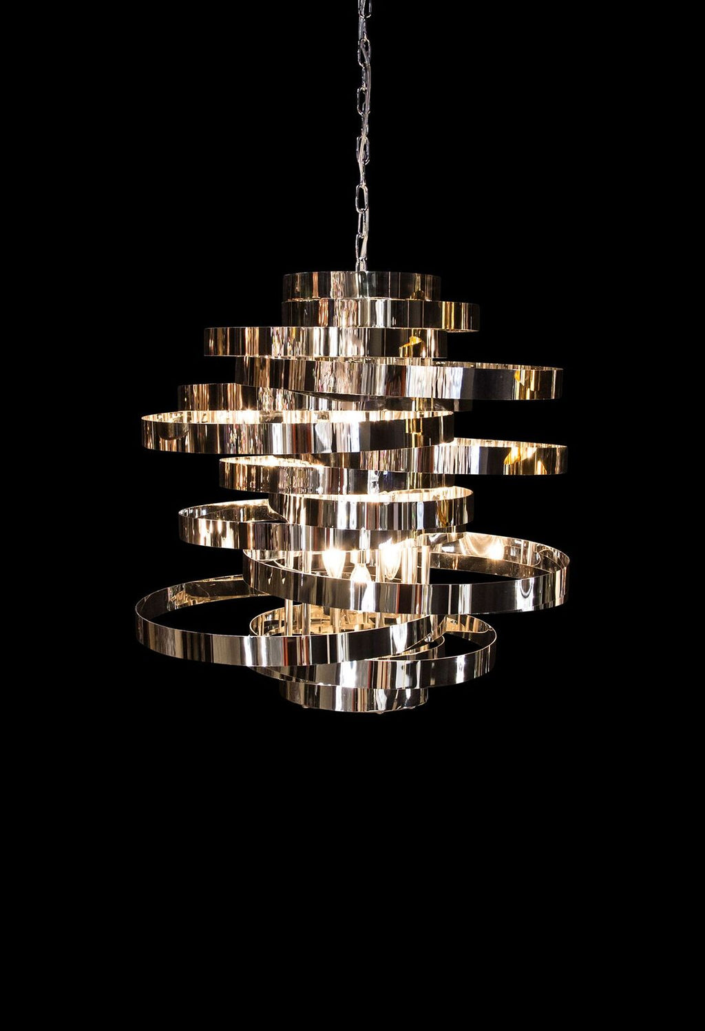 Hemispheres Chandelier in Silver or Gold