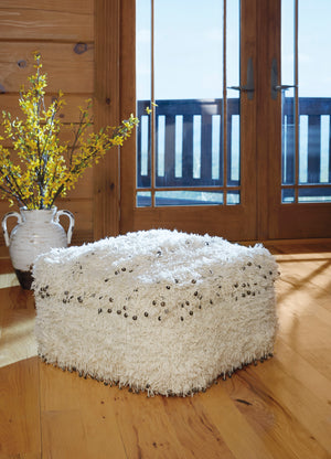 Oatmeal Shaggy Pouf with Sequin Accents