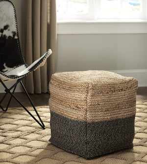 Jute Braided Pouf in Natural and Black