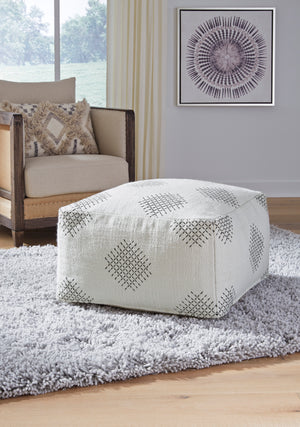 Ivory Hand Woven Pouf with Black Accent Stitching