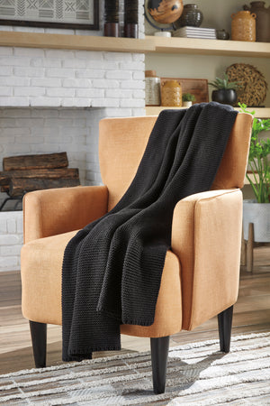 Black Knitted Cotton Throw
