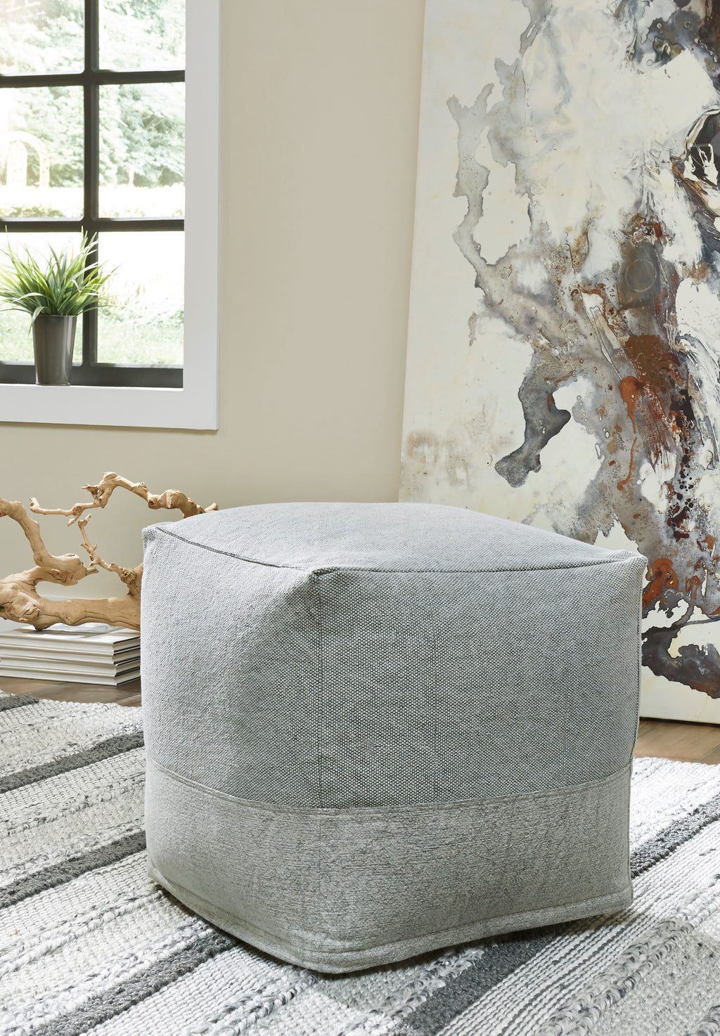 Grey Two Tone Cotton Pouf
