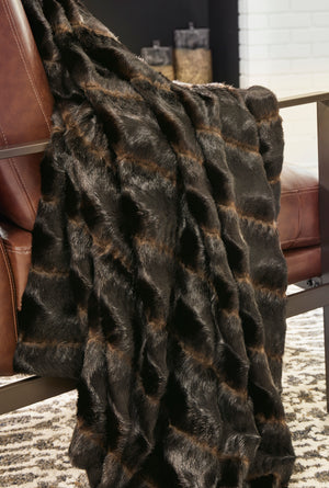 Dark Brown Faux Fur Throw