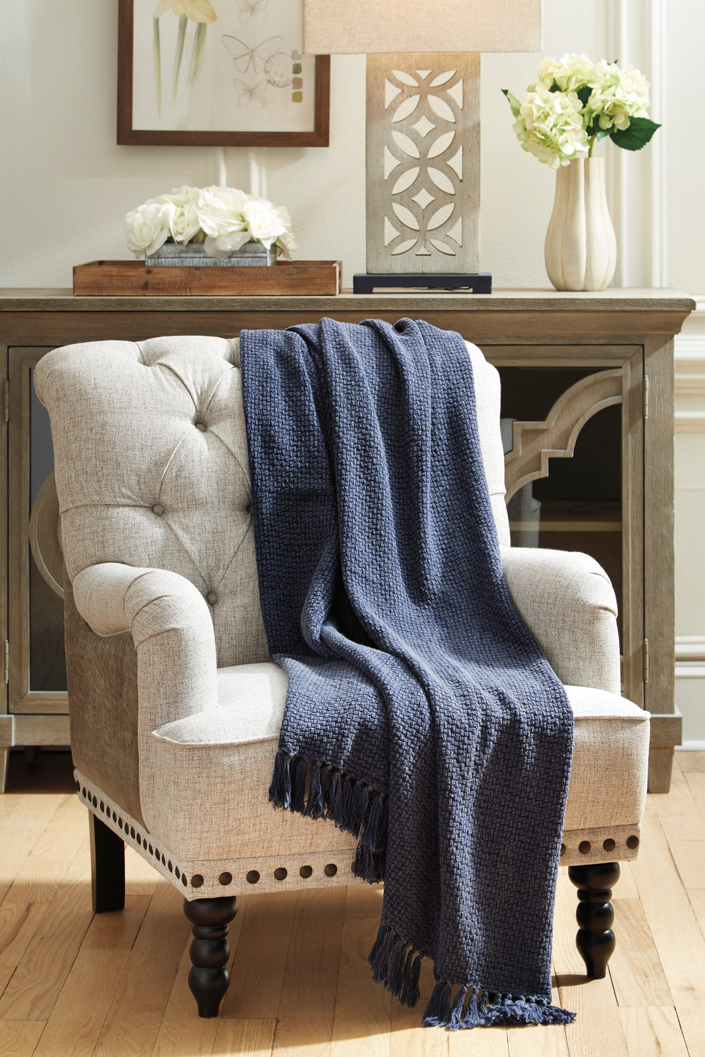 Navy Acid Washed Cotton Throw