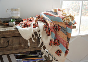 Woven Striped Boho Design Cotton Throw