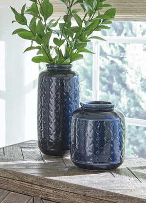 Mora Navy Blue Glazed Ceramic Vase Set