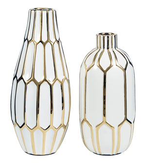 Contemporary White and Gold Ceramic Vase Set