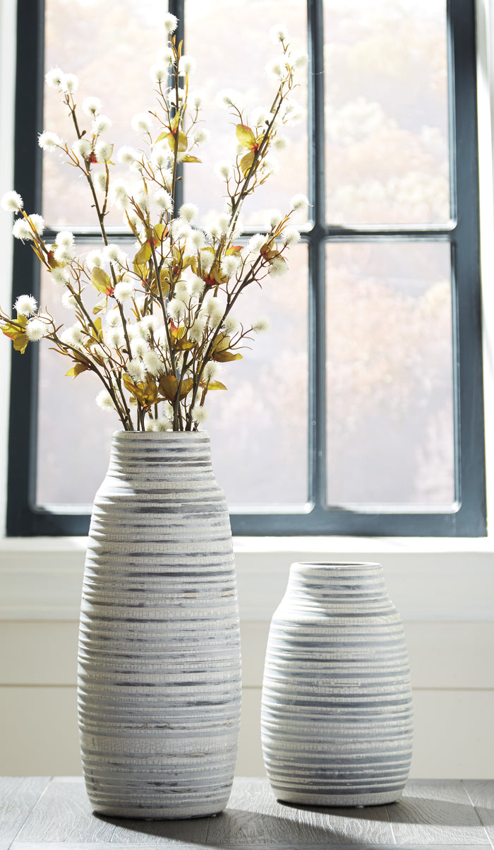Ribbed Texture Ceramic Vase Set