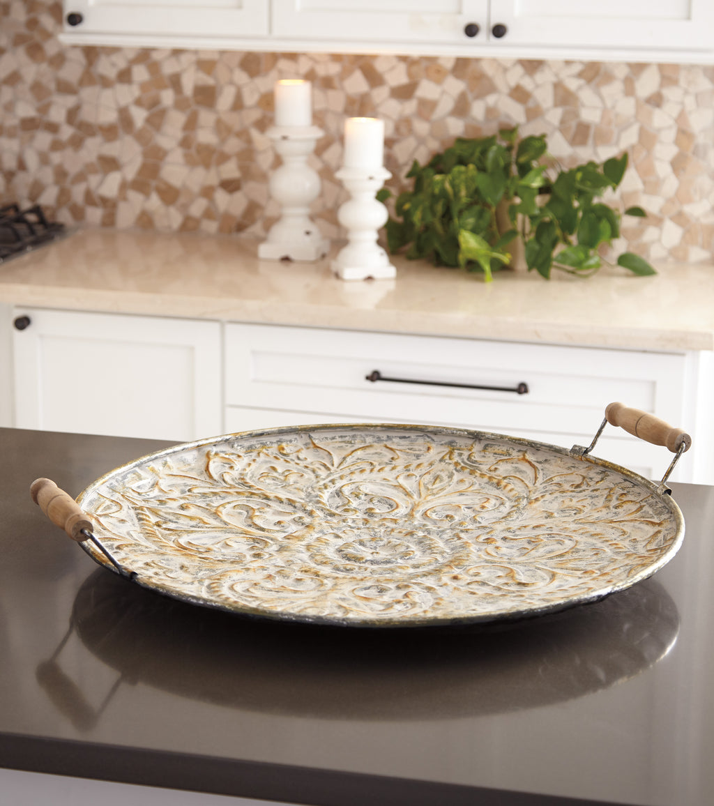 Embossed Metal Design Accent Tray