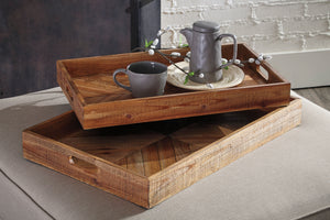 Rustic 2 Piece Serving Tray Set