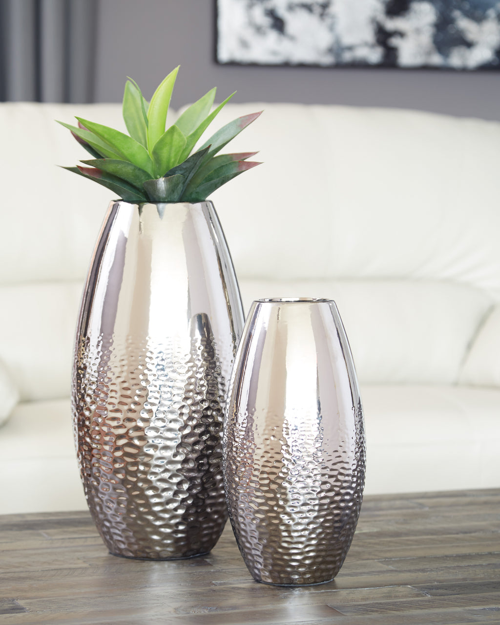 Contemporary Silver Vase Set