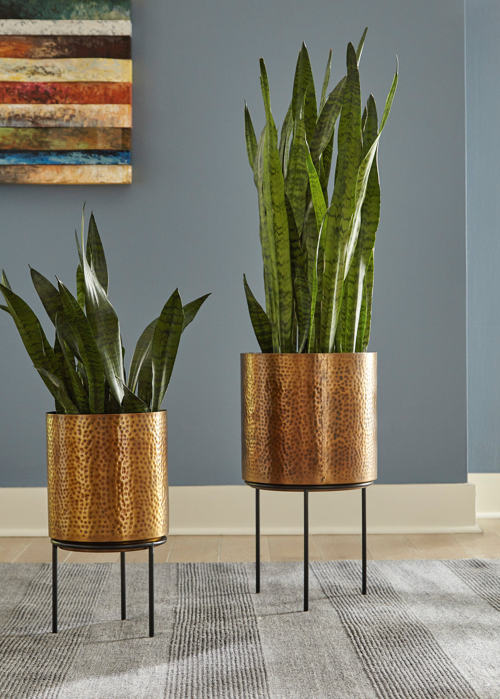 Antique Brass 2 Piece Planters Set