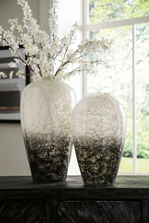 Black and White Ombre Hand Blown Glass Vase