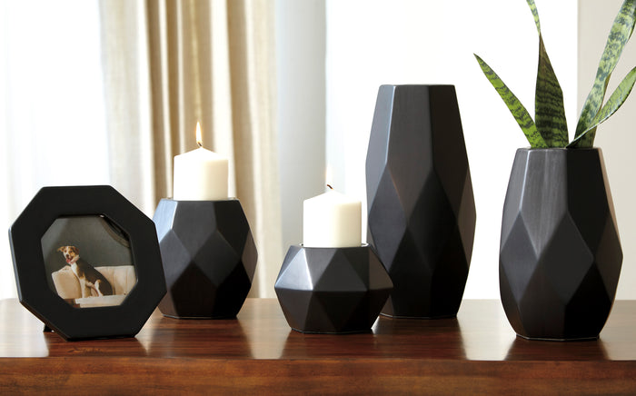 Geometric Matt Black 5 Piece Ceramic Accessories Set