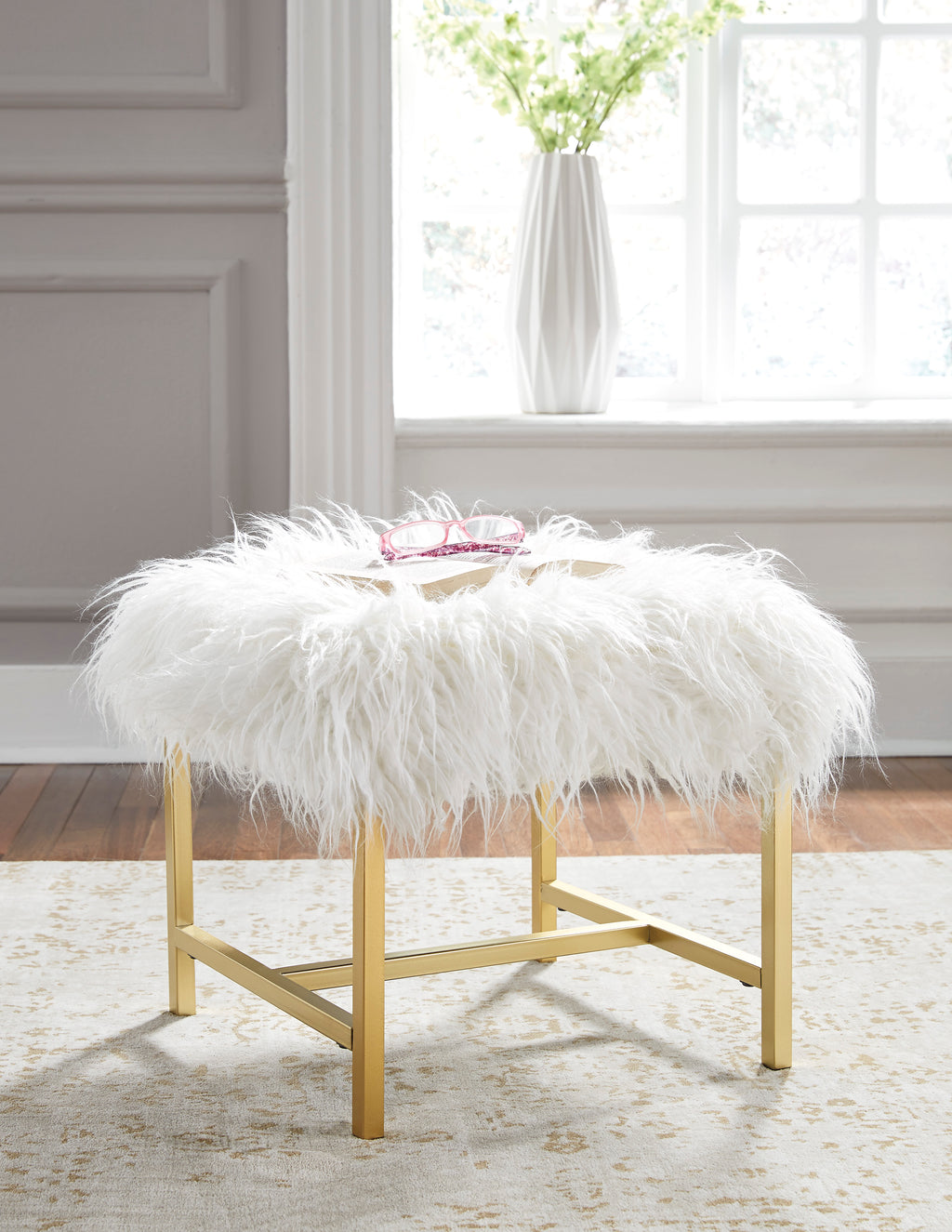Elise White Faux Fur Stool with Gold Legs