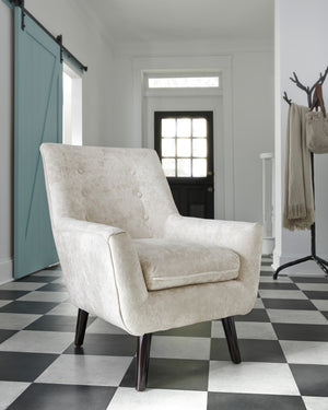 Zoey Ivory Fabric Accent Chair
