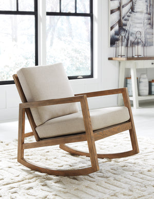 Novak Beige Rocking Accent Chair