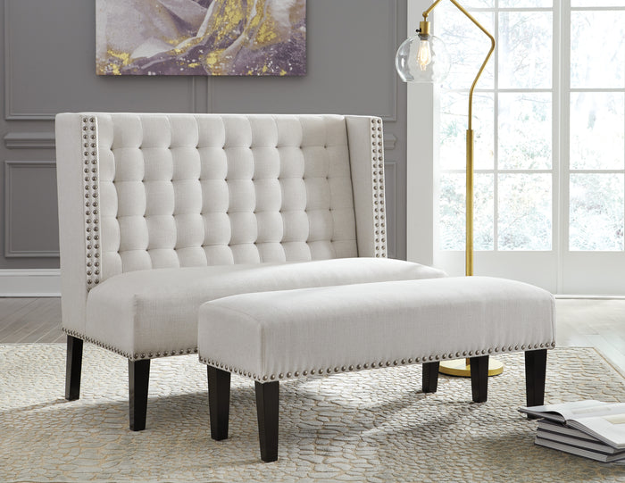 Tufted Wing Back Settee with Optional Matching Bench