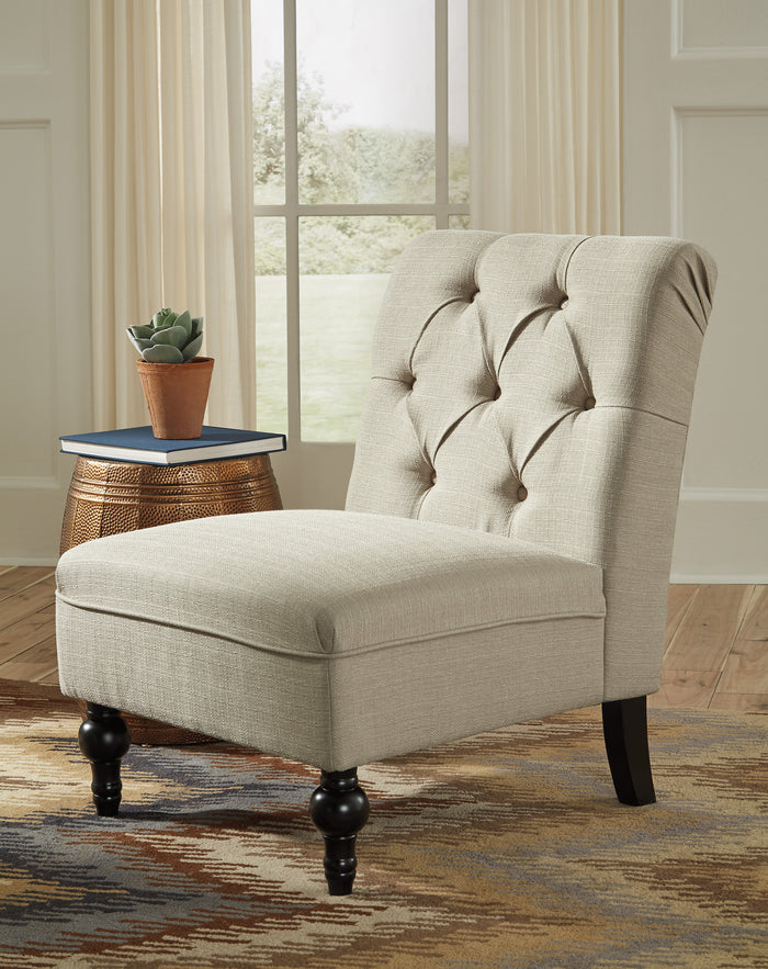 Traditional Oatmeal Armless Accent Chair