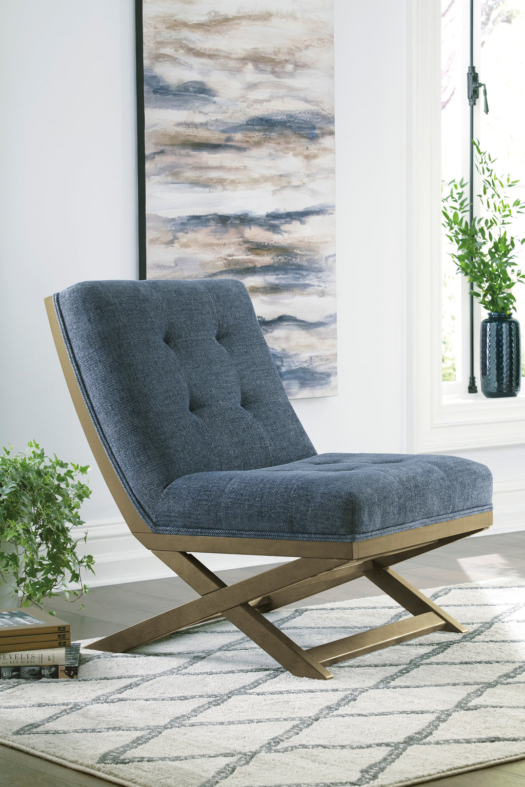 Sid Armless Accent Chair in Blue or Taupe