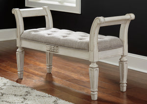 Traditional Antique White Accent Bench