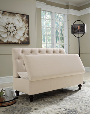 Beige Tufted Armless Settee with Storage