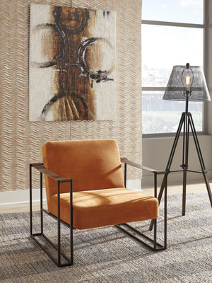 Kenmore Accent Chair with Brown Leather Armrests