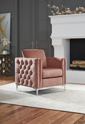 Liz Blush Tufted Accent Chair
