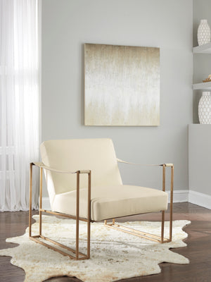 Kenmore Cream Accent Chair with Embossed Ostrich Pattern