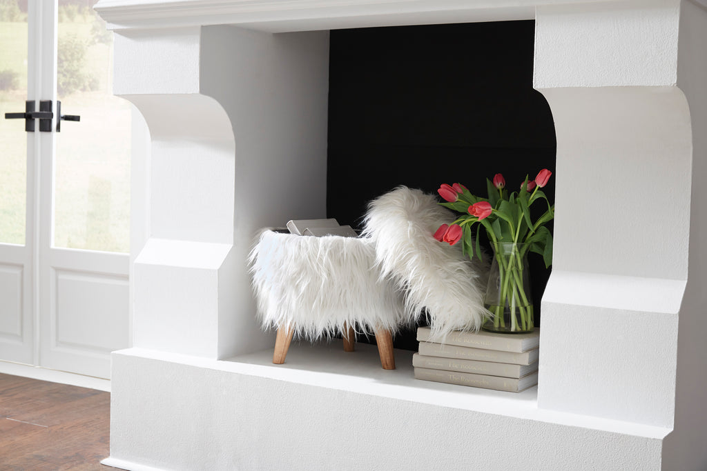 White Faux Fur Storage Ottoman