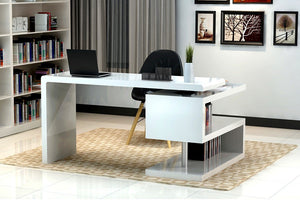 Seth White Modern L-Shaped Desk
