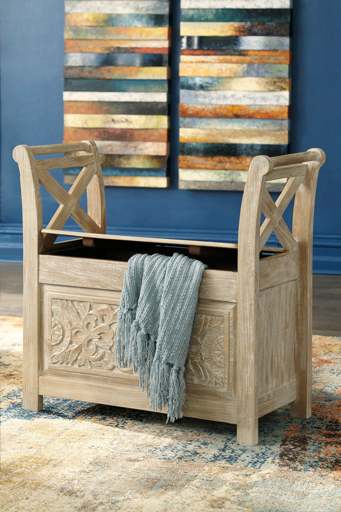 White Washed Rustic Storage Accent Bench