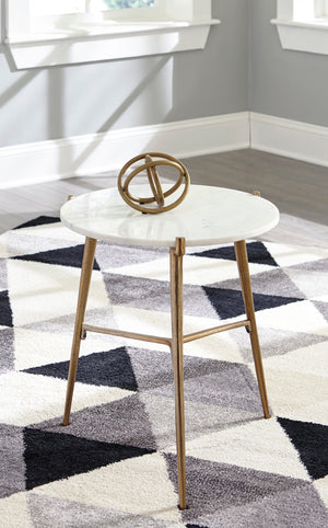 White Marble Accent Table with Tripod Legs