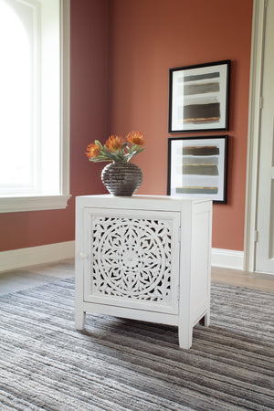 White Hand Carved Medallion Pattern Accent Cabinet