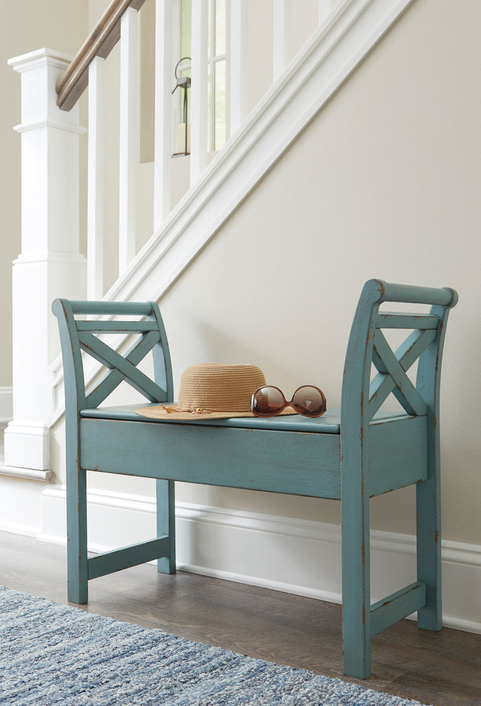 Herman Storage Accent Bench in Blue or White
