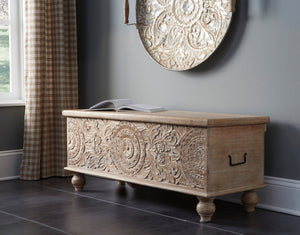 Antique Medallion Carving Storage Bench