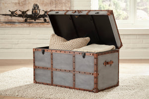 Retro Brown Leather Accent Storage Trunk