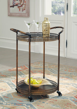 Antique Bronze Metal Bar Cart