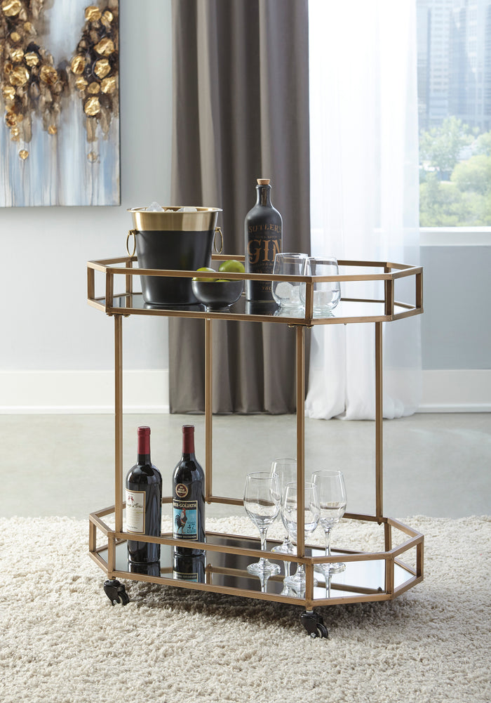 Mirrored and Gold Metal Bar Cart