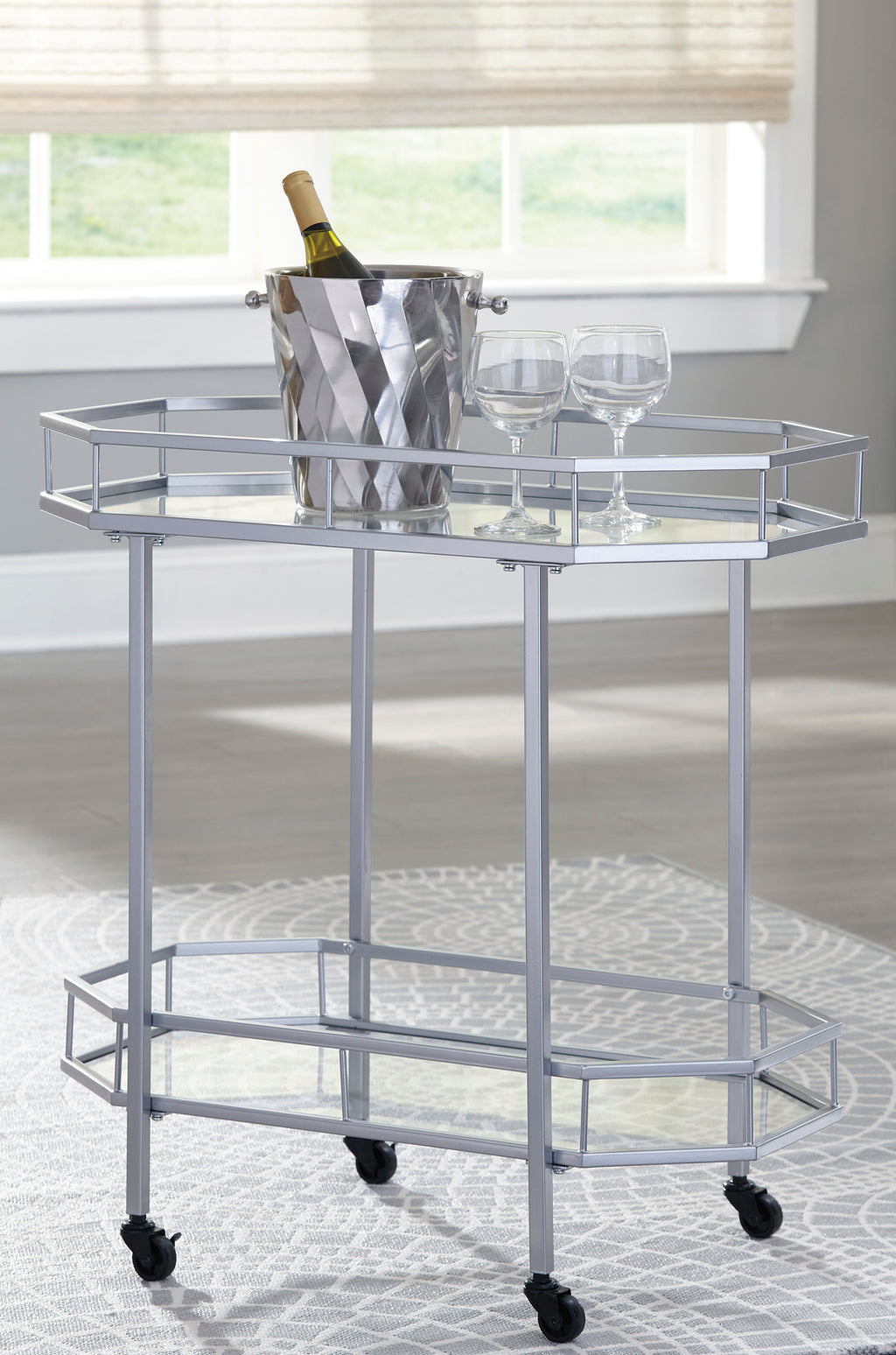 Kadin Contemporary Silver Bar Cart