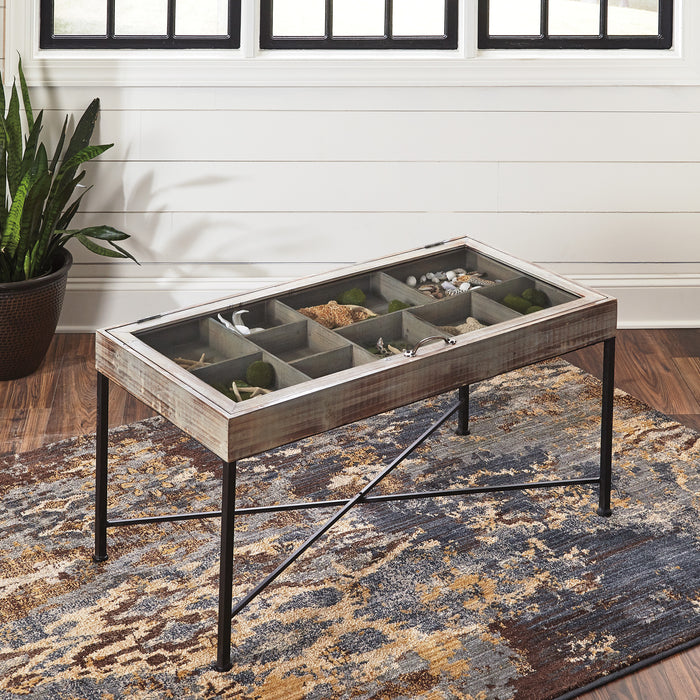 Antique Grey Storage Accent Cocktail Table