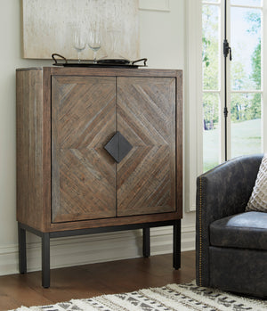 Diamond Pattern Accent Bar Cabinet