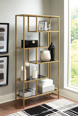 Gold Metal Bookcase with Grey Tinted Glass Shelves