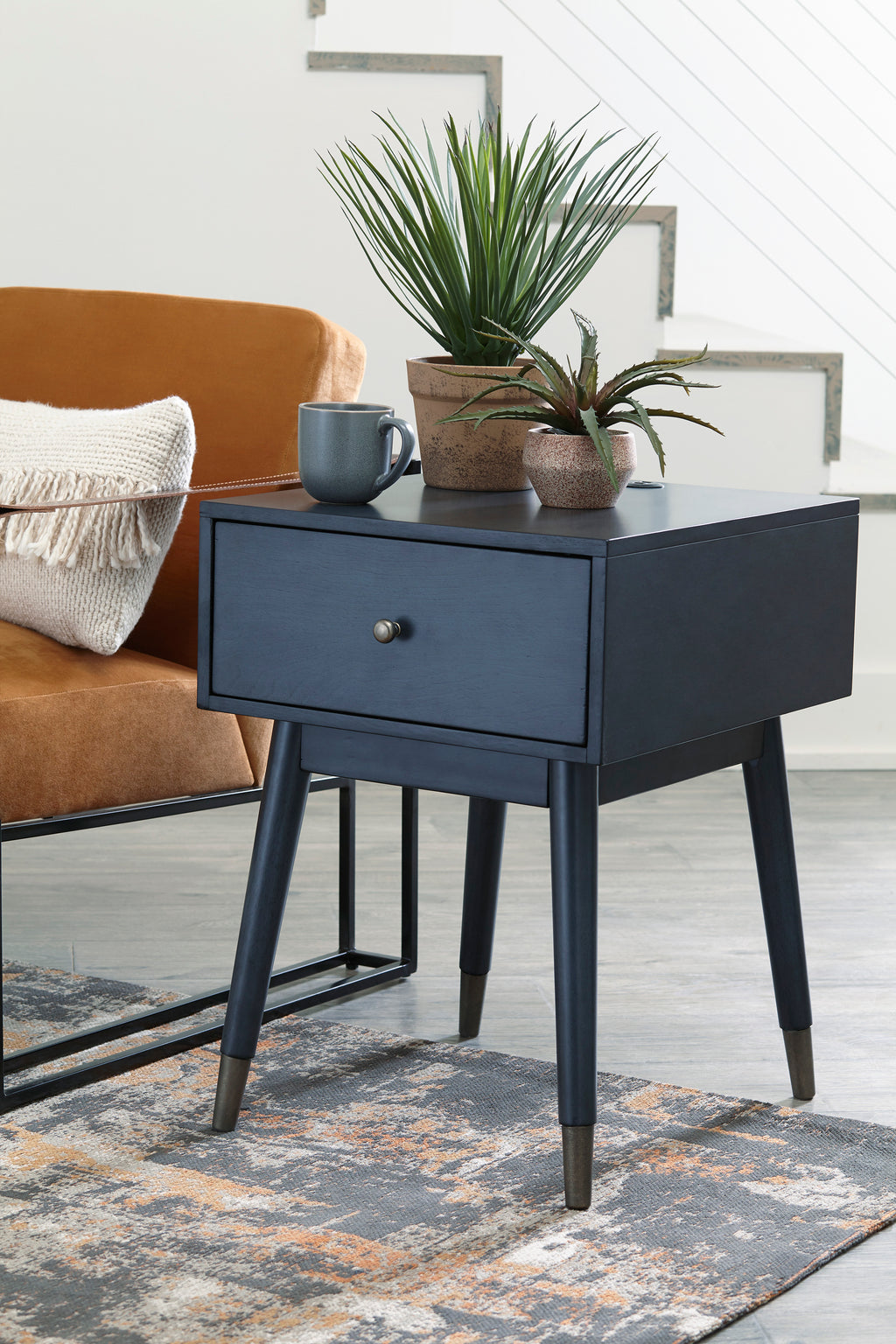 Mid Century Accent Table with USB Ports in Blue or Grey