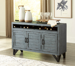 Antique Blue Accent Cabinet with Wine Rack